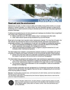 One-page fact sheet on road salt
